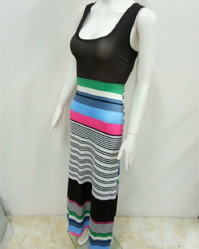 3 Bohemian style colorful striped dress