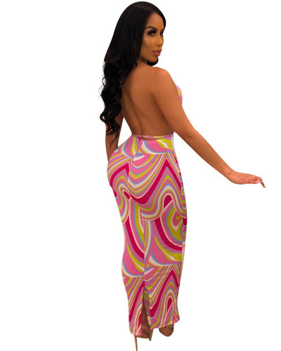 2020 Fashion Euro-American Women's Pink Printed Halter Sexy Tight  Maxi Dress