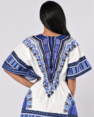 Sexy retro ethnic celebrity style fashion short-sleeved dress