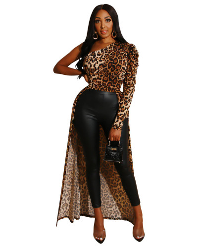 Leopard print Diagonal polka dot leopard shirt dress
