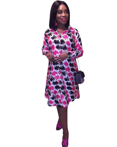 Amazon March new European and American pink women's fashion print dress