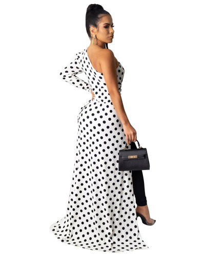 White Diagonal polka dot leopard shirt dress