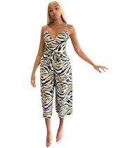2020 Spring fashion zebra strap wide leg jumpsuit