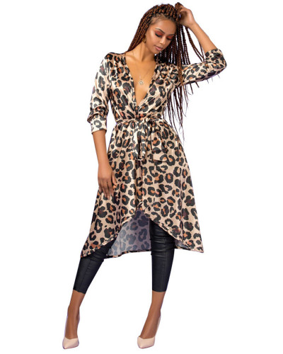 Leopard print thin trench coat mid-length Cloak
