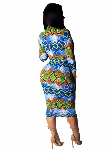 Green Amazon hot sale autumn and winter striped irregular print dress