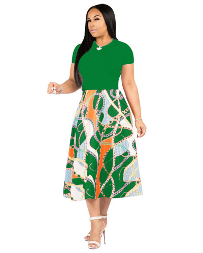 Green Printed swing dress