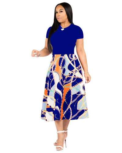 Blue Printed swing dress
