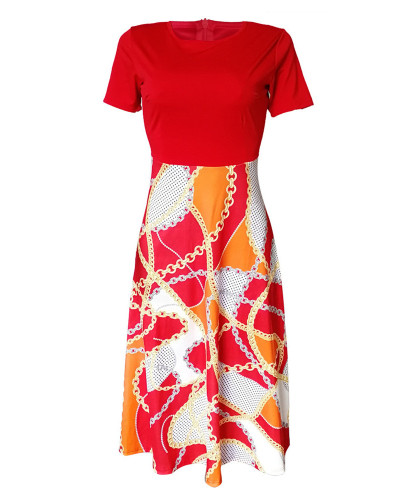 Red Printed swing dress