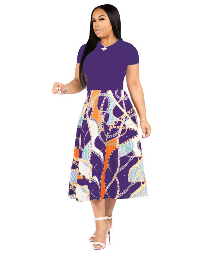 Purple Printed swing dress