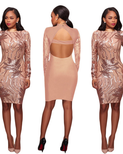 Amazon Hot Sale European and American Sexy Sequin Perspective Backless Slim Dress