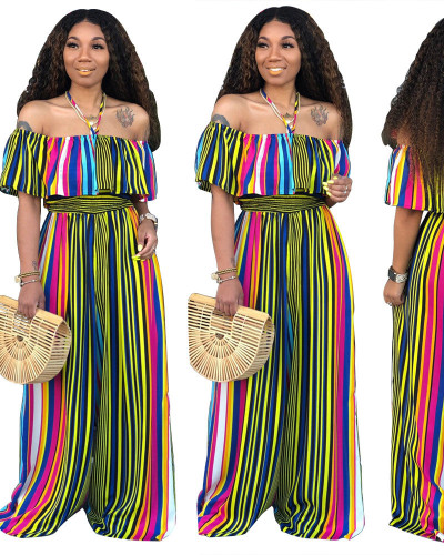Sexy Wrap Stripe Loose Jumpsuit
