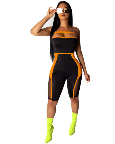 Orange Amazon fashion mesh stitching perspective tube top slim jumpsuit