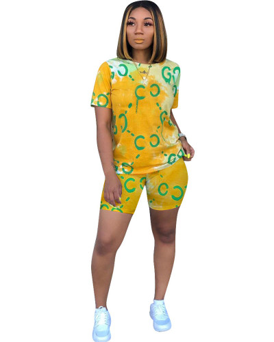 Yellow Digital positioning printing casual suit
