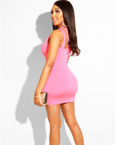 Pink Sleeveless Shoulder Mini Dress