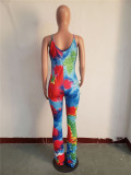 Color print pleated suspenders overalls