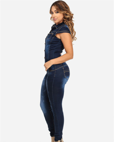 New European and American denim slim slimming jumpsuit jeans