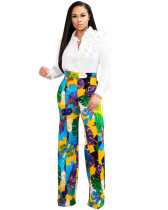 Yellow High waist floral casual straight pants