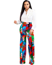 Red High waist floral casual straight pants