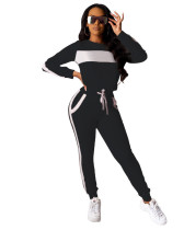 Black 2020 Amazon European and American urban fashion sports style solid color two-piece set