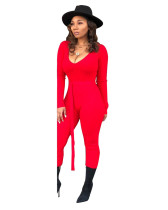 Red Solid thread jumpsuit