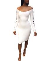 White 2020 Amazon hot sale European and American fashion word collar slim sexy English alphabet long sleeve dress