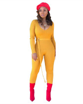 Yellow Solid thread jumpsuit