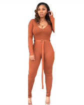 Brown Solid thread jumpsuit