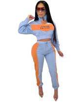 Light Blue Amazon City Fashion Leisure Sports Loose Letter Splicing Tricolor Two-piece Set
