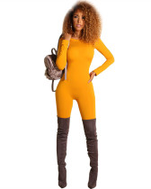 Yellow Solid color sexy tight jumpsuit casual pants