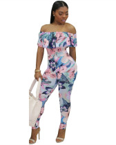 Blue Sexy tight-fitting chest wrap ruffle printed jumpsuit