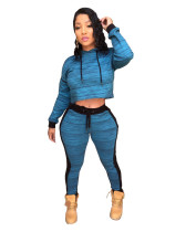 Amazon AliExpress explosion models recommended European and American urban casual fashion black and blue hooded two-piece suit