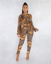 Brown Digital printed leopard print suit