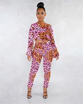 Pink Digital printed leopard print suit