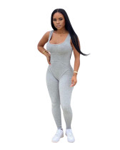 Gray Solid color knitted vest jumpsuit