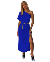 Blue Solid color one-shoulder waist dress