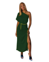 Green Solid color one-shoulder waist dress