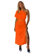 Orange Solid color one-shoulder waist dress