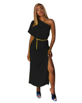 Black Solid color one-shoulder waist dress