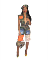 Europe and America Amazon sexy camouflage positioning printed jumpsuit