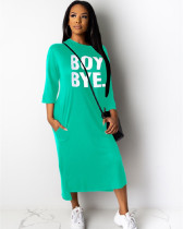Green Casual loose letter printed dress