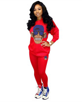 Red Casual solid color cartoon decal sports two-piece set