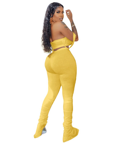 Yellow 2020 Casual fold split tube top micro-speaker silm pants sexy two-piece suit