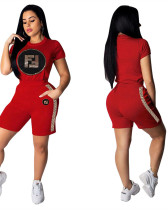 Sequin decal stretch webbing leisure sports two-piece set