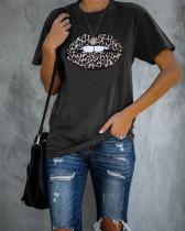 Lips Leopard Home leisure top offset T-shirt