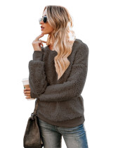 Gray Casual solid color crew neck sweater