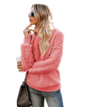 Pink Casual solid color crew neck sweater