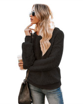 Black Casual solid color crew neck sweater