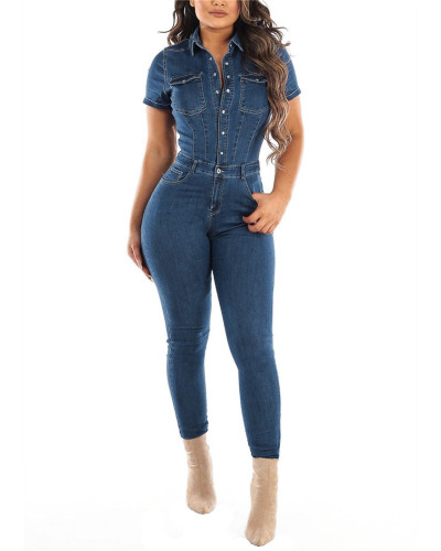 2020 Amazon new European and American sexy fashion denim jumpsuit