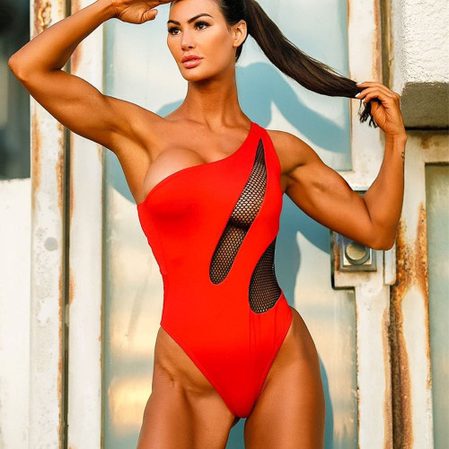 Red swimsuit female one-piece bikini
