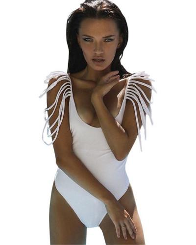 2020  New bikini tassel one-piece sexy backless swimsuit